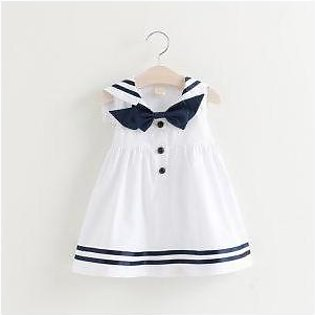 Baby Dress Naval Style Bow White