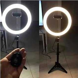 Photography Led Tiktok Ring Light 26cm Metal Frame Dimmable With 8 Ft Tripod ...