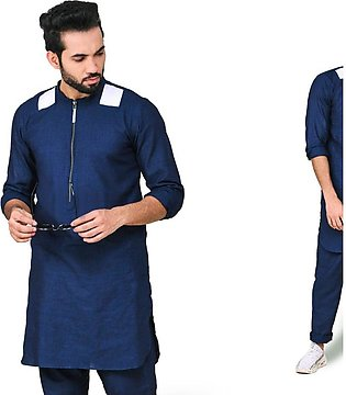Blue linen with white patches Kurta trouser.