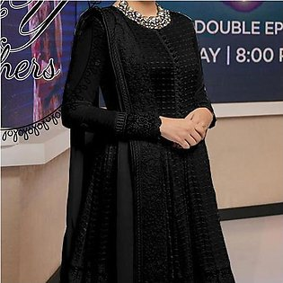 New Simple Design Chiffon Frock Black For Women's 45113
