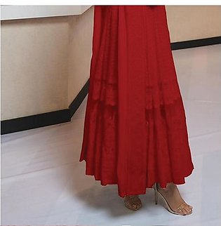 New Simple Design Chiffon Frock Red For Women's 45113