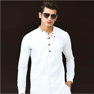 White short length linen kurta and trouser