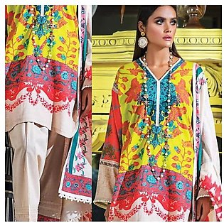Sana Safinaz Mahay Winter Unstitched Collection 2pc Suit 3B Yellow
