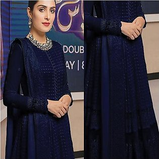 New Simple Design Chiffon Frock Blue For Women's 45113