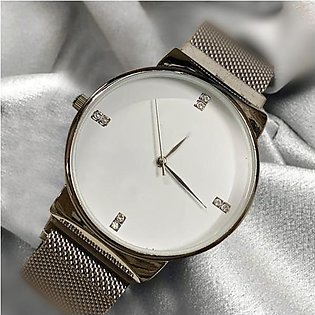Ck Magnetic Pair Watch Dummy Down Second White & Silver For Mens & Womens Bes...