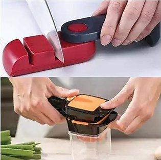 Pack of 2 Knife Sharpener - Black & Red and Nicer Dicer Multi-Cutter Quick Food…