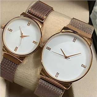 Ck Magnetic Pair Watch Dummy Down Second Golden & White For Mens & Womens Bes...