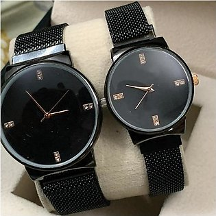 Ck Magnetic Pair Watch Dummy Down Second Black & Golden For Mens & Womens Bes...