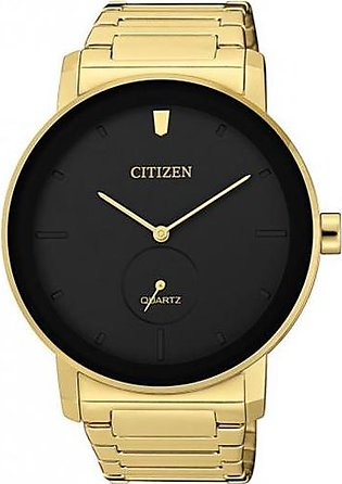 Citizen wrist watch for men in black dial and golden color