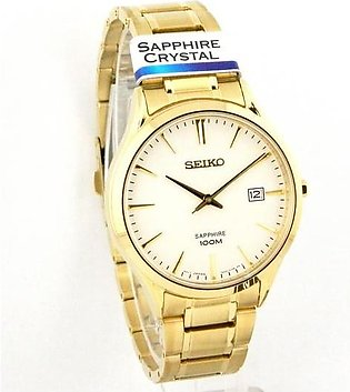 Seikomens wrist watch in white dial with date in sapphire crystal glass