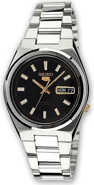 Seiko 5 black dial men's wrist watch