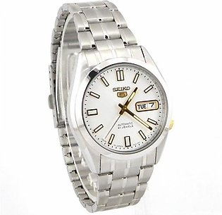 Seiko 5 men's watch in white dial with day and date all stainless steel
