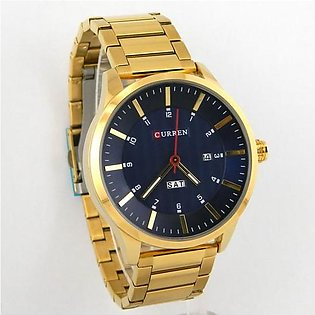 Curren mens watch in golden chain and case with blue dial