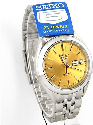 Seiko 5 automatic men's wrist watch in golden dial with day and date