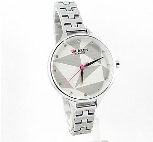 Curren wrist watch for women in silver color