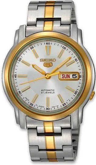 Seiko 5 men's two tone color wrist watch