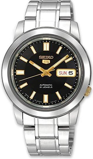 Seiko 5 black dial men's automatic wrist watch