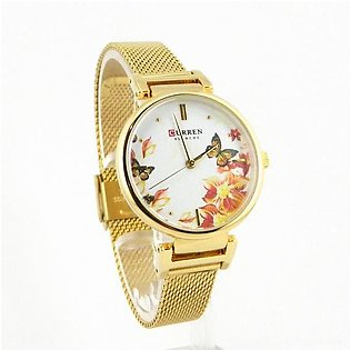 Curren womens watch in golden color and mesh chain and white dial