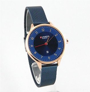 Curren womens watch in navy blue mash chain and dial