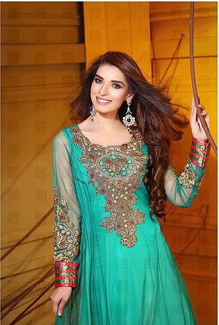 Sea Green Embroidered Chiffon Frock Luxury Pret
