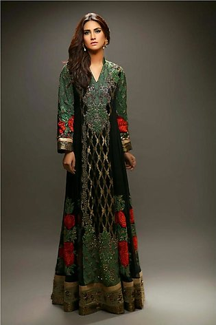 Bottle Green Color Frock Embroidered with roses Luxury Pret