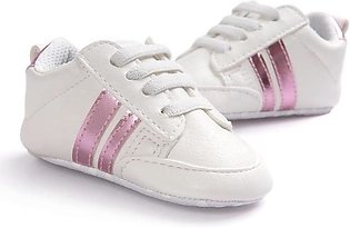 Comfortable White pink Baby Girl Sneakers Shoes for Newborn to Toddlers