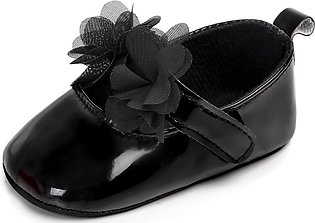 Leather soft sole Black baby girl shoes