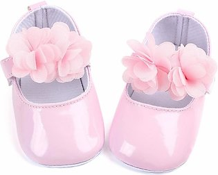 Leather soft sole baby pink girl shoes