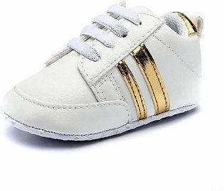 Comfortable Whit Gold Baby Girl Sneakers Shoes for Newborn to Toddlers