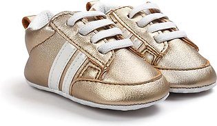Comfortable Gold White Baby Girl Sneakers Shoes for Newborn to Toddlers