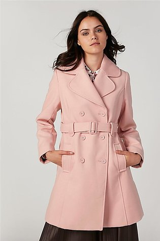 Plain Trench Coat with Long Sleeves and Pocket Detail