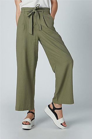 Solid Palazzo Pants with Pocket Detail and Tie Up Belt