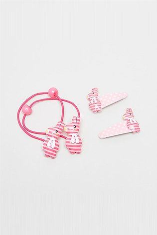 Girl's Printed 4-Piece Hair Accessory Set