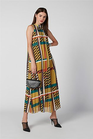 Sustainability Printed Maxi A-line Dress with High Neck