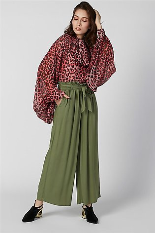 Plain Flexi Waist Palazzo Pants with Tie Ups