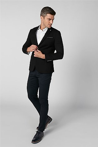 Slim Fit Plain Formal Blazer with Notched Lapel and Flap Pockets
