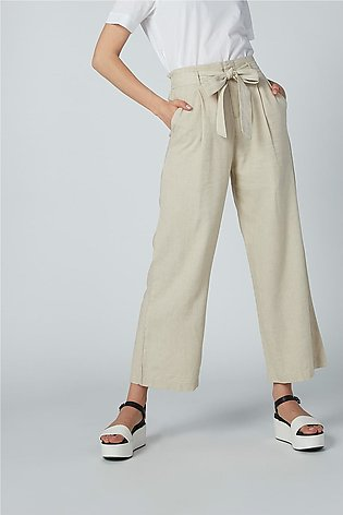 Plain Palazzo Pants with Pocket Detail and Tie Up Belt