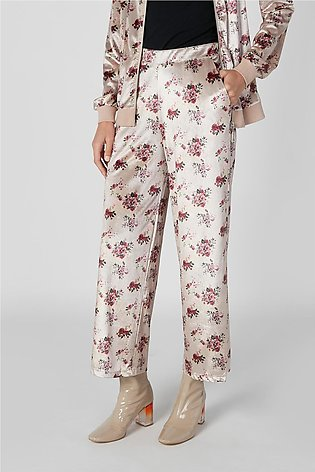 Wide Fit Printed Mid Waist Palazzo Pants with Pocket Detail