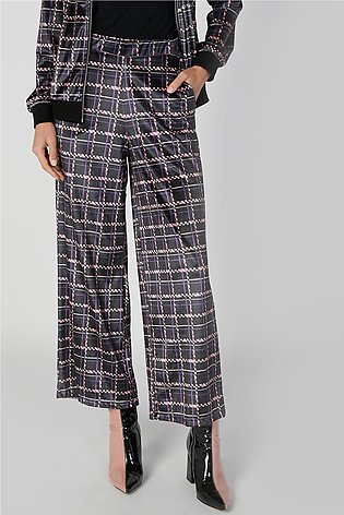 Wide Fit Chequered Mid Waist Palazzo Pants with Pocket Detail