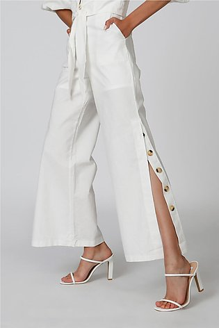 Wide Fit Plain Palazzo Pants with Side Slit and Button Detail