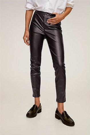 Slim-Fit Faux Leather Trousers
