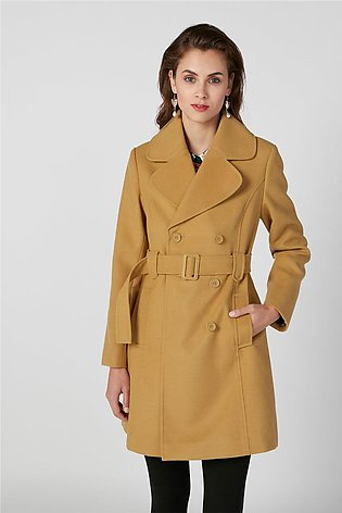 Textured Trench Coat with Long Sleeves and Pocket Detail