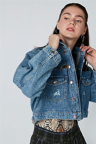 Long Sleeves Denim Jacket with Cutout Detail