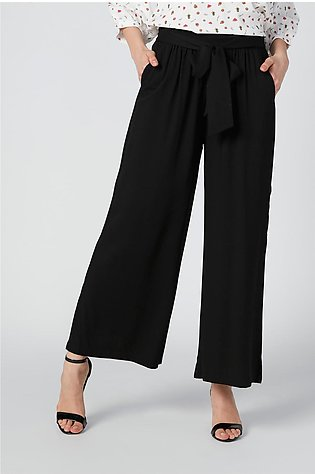 Wide Fit Solid Palazzo Pants with Tie Up and Pocket Detail