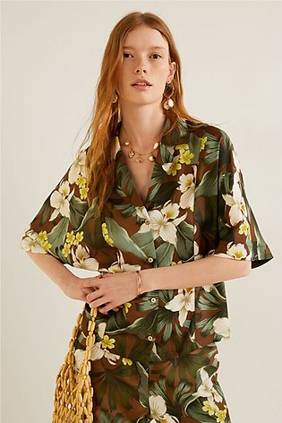 Buttoned Printed Blouse