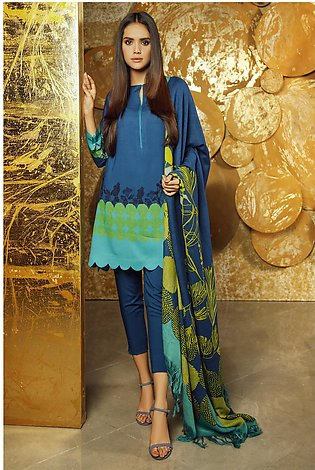 3 Piece Embroidered Twill Viscose Suit with Printed Shawl