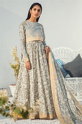 3 Piece Printed Suit with Yoke & Lawn Dupatta