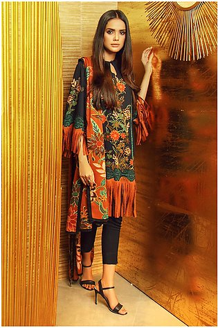 3 Piece Printed Plain Viscose Suit with Plain Viscose Dupatta
