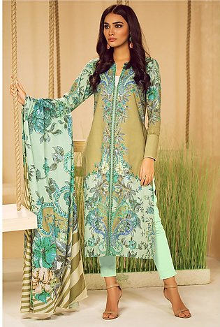 3 Piece Printed Suit with Jacquard Net Dupatta