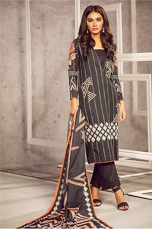 3 Piece Embroidered Suit with Doria Dupatta